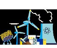 5种燃料煤炭,核能,风能,水能和太阳能